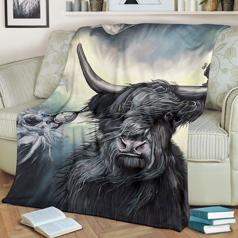 Highlands Cattle Dream Premium Blanket | Love Scotland