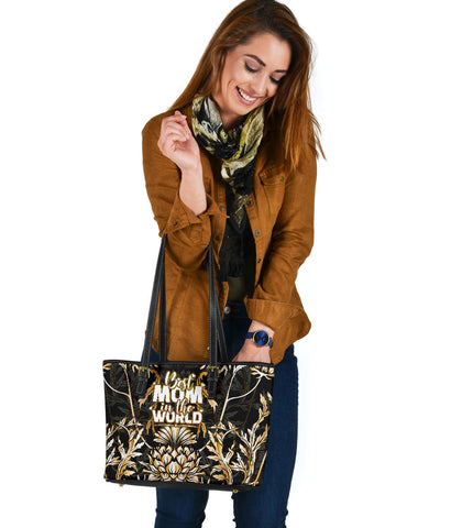 Mother's Day Scotland Leather Tote Bag Scottish Gold Thistle (Small) A7