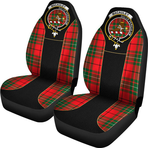 Tartan Car Seat Cover, Macauley Clan Badge Special Version Scottish Car Seat Cover A9
