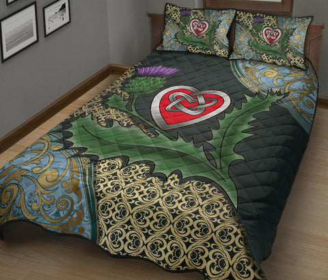 Scotland Quilt Bed Set - Scottish Heart Thistle Celtic A24