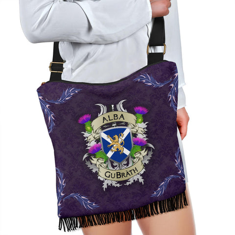 Scotland Crossbody Boho Handbag - Scotland Forever Flag Lion Thistle Purple (Alba GuBràth) A02