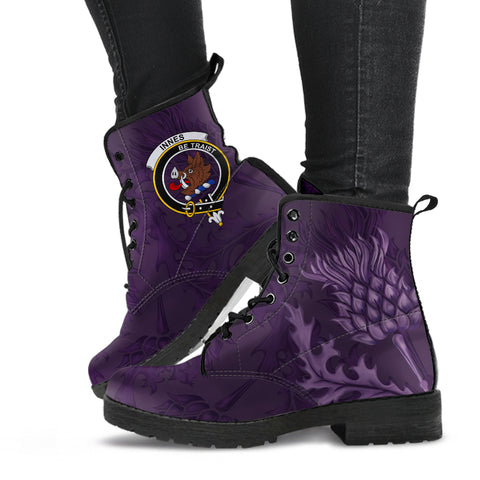 Innes Crest Scottish Thistle Scotland Leather Boots Purple | Over 300 Clans