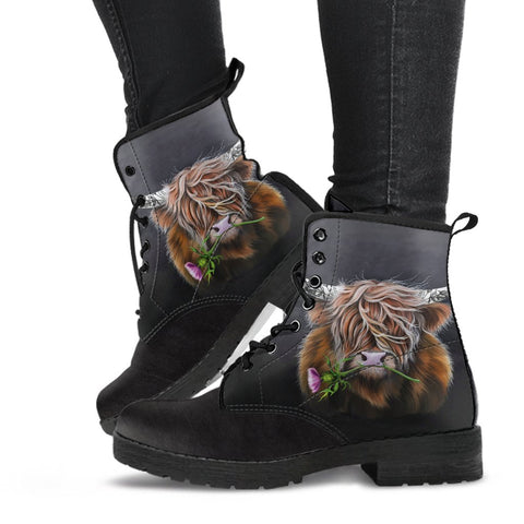 Scotland Leather Boots - Thistle Highland Cow | Love Scotland