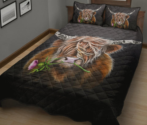 Scotland Quilt Bed Set - Thistle Highland Cow | Love Scotland