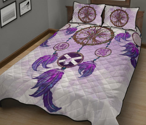 Scotland Quilt Bed Set - Dream Catcher Celtic Tree Of Life White A24