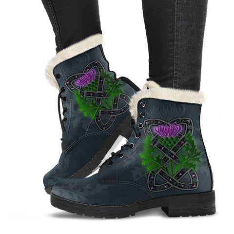 Celtic Myth Thistle Faux Fur Leather Boots | Special Custom Design