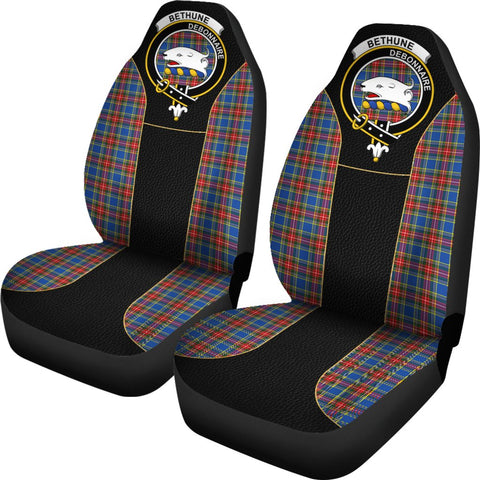 Tartan Car Seat Cover, Bethune Clan Badge Special Version Scottish Car Seat Cover A9