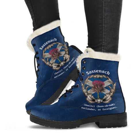 1stScotland Faux Fur Leather Boots - (Blue) Sassenach Gaelic Sass Uh Nak Outlander Or Foreigner Scottish Thistle | 1stScotland