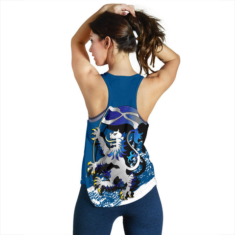 Scottish Rampant Lion Holding The Flag Women's Racerback Tank