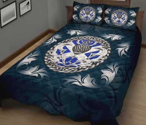 Scotland Quilt Bed Set - Scottish Flag and Celtic Thistle - Blue A18