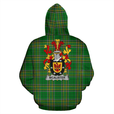 Image of Alister or McAlister Ireland Hoodie Irish National Tartan (Pullover) | Women & Men | Over 1400 Crests