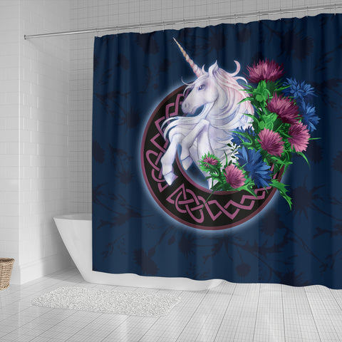 Scotland Shower Curtain - Unicorn Thistle And Moon Celtic