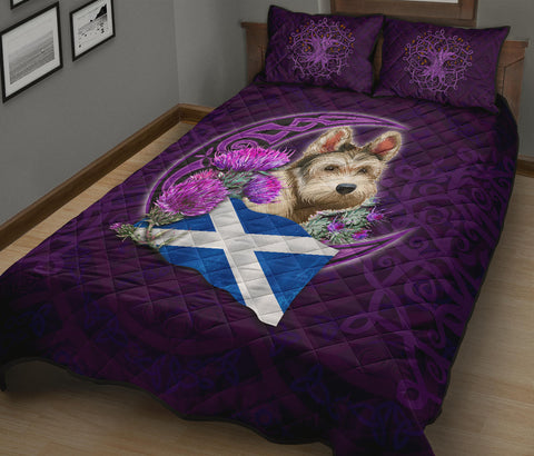 Scotland Celtic Tree Of Life Quilt Bed Set - Scottish Flag Terrier And Thistle Moon Celtic A18