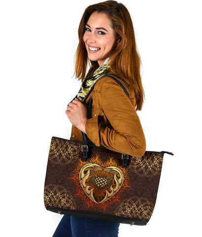 Scotland Large Leather Tote - Tribal Thistle Celtic | 1stScotland