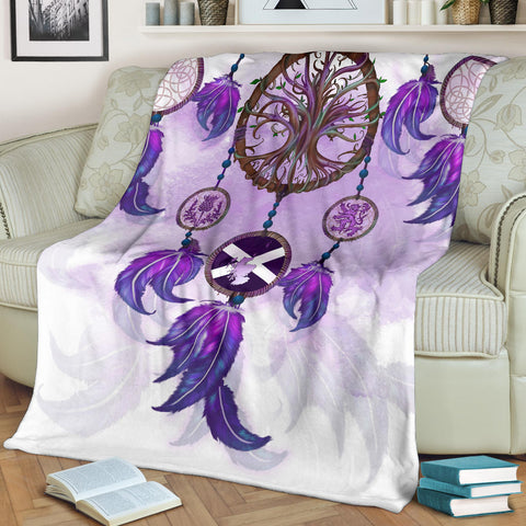 Scotland Premium Blanket - Dream Catcher Celtic Tree Of Life White A24