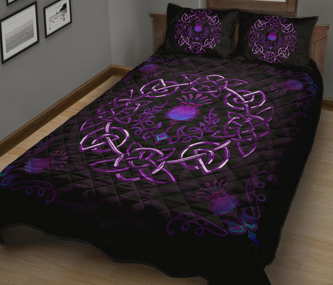 Image of Scotland Quilt Bed Set - Purple Thistle Celtic | Love Scotland