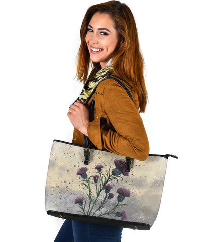 Scotland Large Leather Tote - Scottish Thistle Vintage | Love Scotland