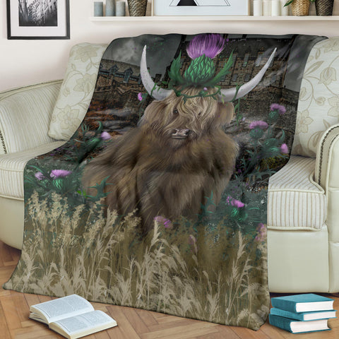 Scotland Premium Blanket - Highland Cattle Thistle Edinburgh A24