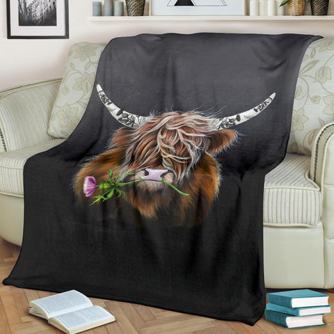Scotland Premium Blanket - Thistle Highland Cow | Love Scotland