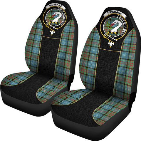 Tartan Car Seat Cover, Brisbane Clan Badge Special Version Scottish Car Seat Cover A9