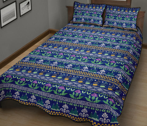 Image of Scotland Quilt Bed Set - Blue Thistle Pattern | Love Scotland