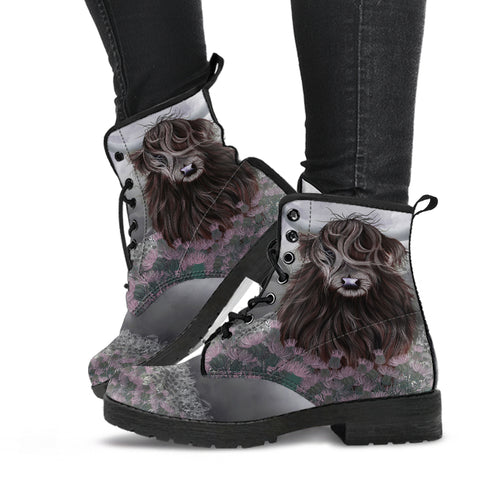 Scotland Leather Boots - Highland Cow Thistle A24