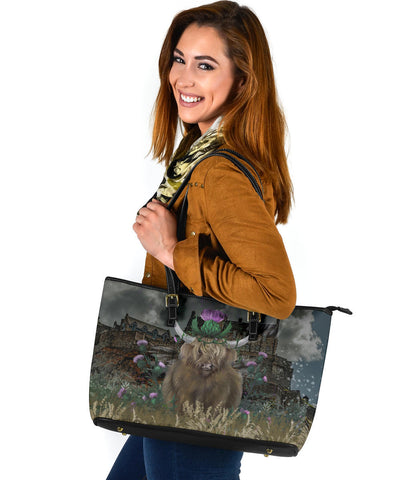 Scotland Leather Tote - Highland cattle Thistle Edinburgh A24
