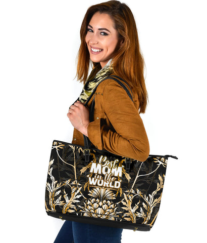 Mother's Day Scotland Leather Tote Bag Scottish Gold Thistle (Large) A7