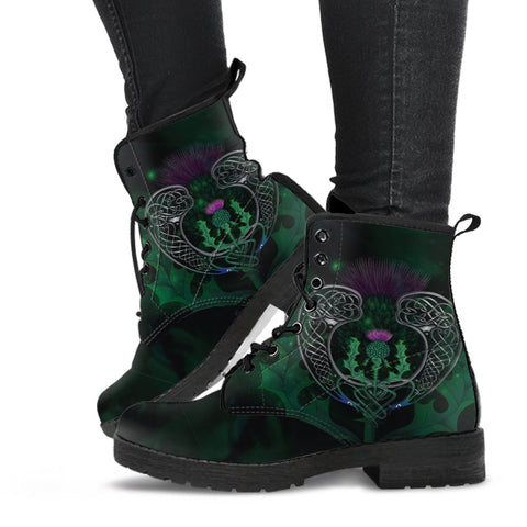 Scotland Leather Boots - Celtic Thistle Green | Love Scotland
