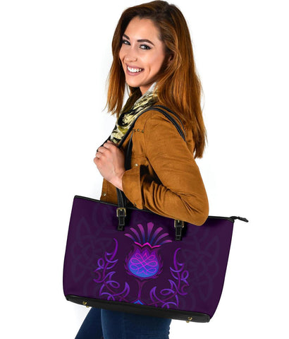 1stScotland Large Leather Tote - Scottish Purple Celtic Thistle  | 1stScotland