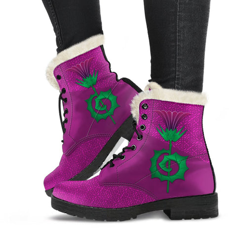 1stScotland Faux Fur Leather Boots - Thistle And Celtic Pattern | 1stScotland
