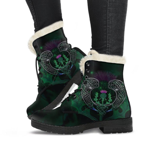 Scotland Faux Fur Leather Boots - Celtic Thistle Green | Love Scotland