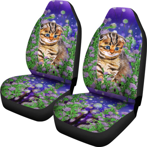 Scottish Fold Cat And Thistle - Car Seat Covers | HOT Sale