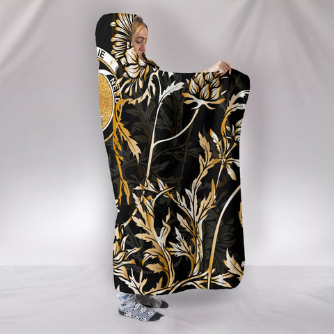 Ainslie Hooded Blanket - Gold Scottish Thistle Over 300 Clans