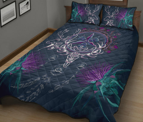 Image of Scottish Thistle Quilt Bed Set - Scottish Deer Celtic & Thistle In Dream Catcher A18