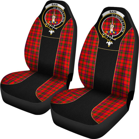 Tartan Car Seat Cover, Bain Clan Badge Special Version Scottish Car Seat Cover A9