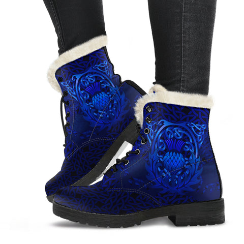 1stScotland Faux Fur Leather Boots - Blue Celtic Thistle Of Scotland | 1stScotland