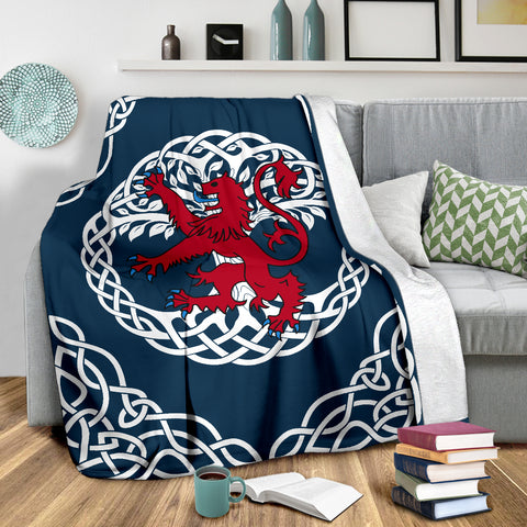 Love Scotland | Rampant Lion Celtic Tree Blue Premium Blanket