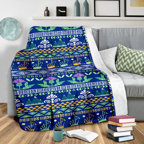 Love Scotland | Scotland Pattern Blue Premium Blanket