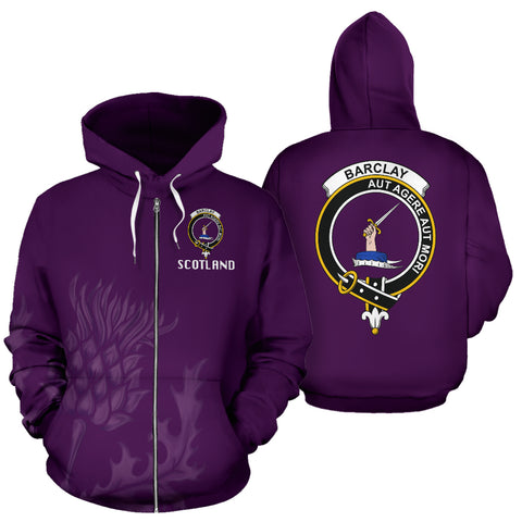 Barclay Crest Scottish Thistle Scotland Zip Hoodie Purple | Clothing | 1stscotland
