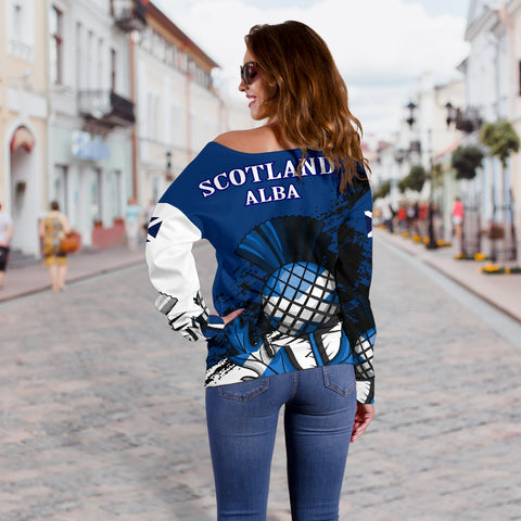 Scottish Thistle Blue Edition Off Shoulder Sweater