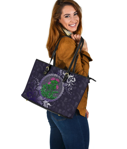 Scotland Leather Tote - Celtic and Thistle Purple | Love The World