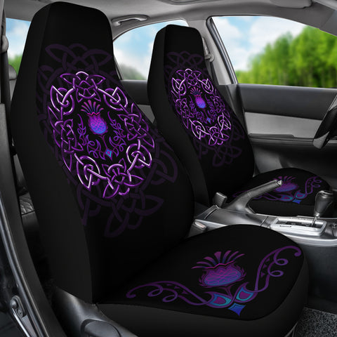 Scotland Car Seat Covers - Purple Thistle Celtic | Love Scotland