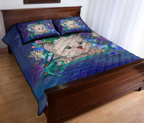 Scotland Quilt Bed Set - Scottish Unicorn Horn And Bluebell Thistle A18