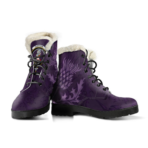 Scottish Clan Boots Clephan (or Clephane) Crest Thistle Faux Fur Leather Boots | Over 300 Clans