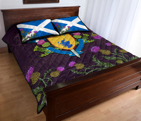 Scotland Quilt Bed Set - Scottish Flag Map Thistle A24