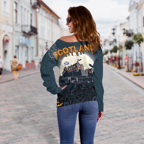 Image of Scottish Piper Halloween Women's Off Shoulder Sweater | 1stscotland