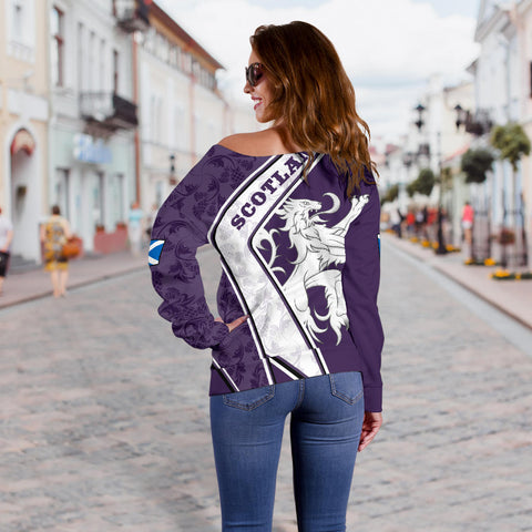 Scotland Shoulder Sweater - Lion Thistle Celtic Purple A24
