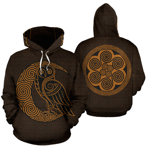 Image of Celtic Owl And Moon Pullover Hoodie | Men & Women | Clothing