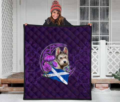 Scotland Premium Quilt Celtic Tree Of Life - Scottish Terrier And Thistle Moon Celtic